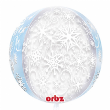 "Snowflakes Orbz Balloon (15"") 1pc"